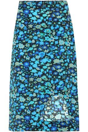 Ganni Floral silk-blend skirt