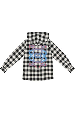 Marcelo Burlon Kids of Milan Checked cotton-blend hooded shirt