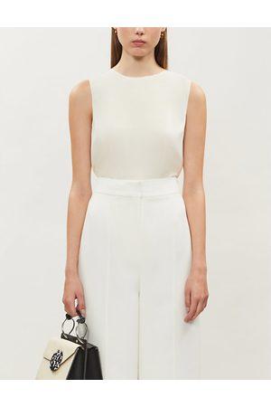 THEORY Sleeveless stretch-silk blouse