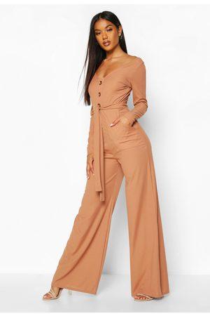 Boohoo Womens Long Sleeve Horn Button Rib Tie Jumpsuit - - 4