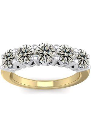 SuperJeweler Women Rings - 1.5 Carat Round Shape Five Stone Wedding Band Ring in 14K (4.80 g) (
