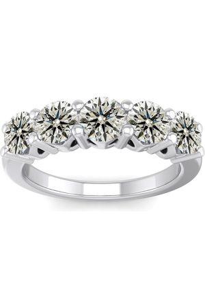 SuperJeweler 1.5 Carat Round Shape Five Stone Wedding Band Ring in 14K (4.80 g) (
