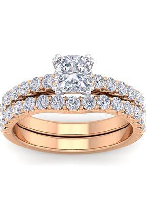 SuperJeweler 1 3/4 Carat Cushion Cut Diamond Bridal Ring Set in 14K (5.44 g) (