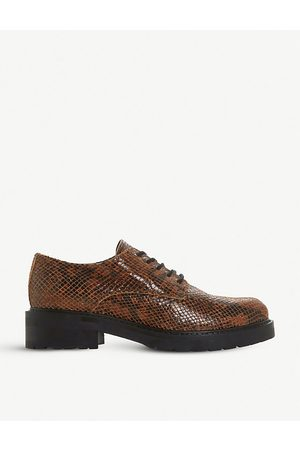 Dune Fearce lace-up croc-effect leather brogues