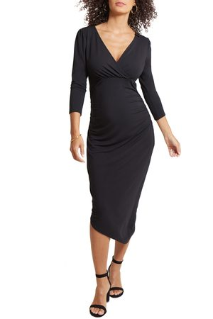 Ingrid & Isabel Women's Ingrid & Isabel Asymmetrical Hem Midi Maternity/nursing Dress