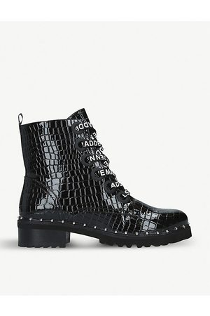 Steve Madden Tess crocodile-embossed leather ankle boots