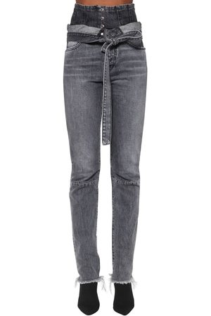 UNRAVEL Corset Straight Leg Cotton Denim Jeans
