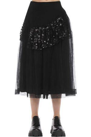 Simone Rocha Patchwork Sequin Ruffled Midi Skirt