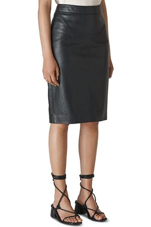 Whistles Kel Leather Knee-Length Pencil Skirt