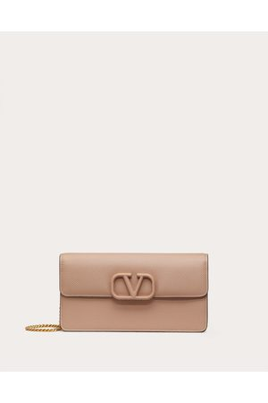 VALENTINO GARAVANI Vsling Grainy Calfskin Wallet With Chain Strap Women Rose Cannelle Calfskin 100% OneSize