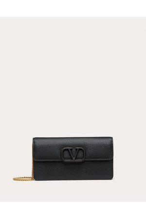 VALENTINO GARAVANI Vsling Grainy Calfskin Wallet With Chain Strap Women Calfskin 100% OneSize
