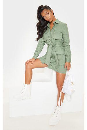 PRETTYLITTLETHING Petite Olive Khaki Utility Tie Waist Shirt Dress