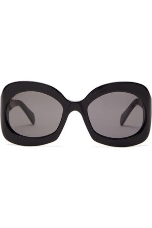 Céline Round Tortoiseshell Effect Acetate Sunglasses - Womens