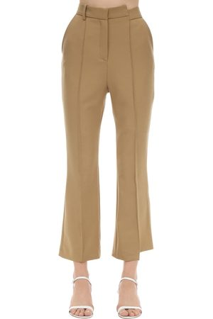 Rokh Cropped Flare Leg Viscose Twill Pants