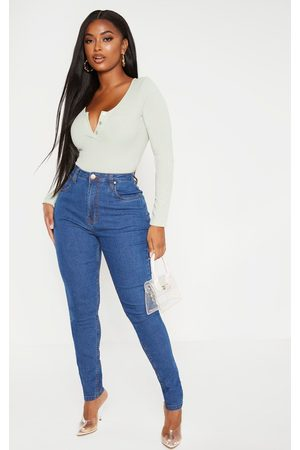 PRETTYLITTLETHING Shape Mid Wash High Waist Super Stretch Denim Jeans