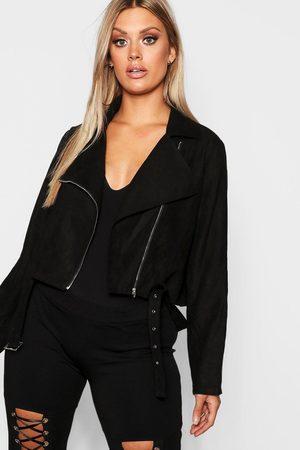 Boohoo Womens Plus Belted Suedette Crop Moto Jacket - - 12