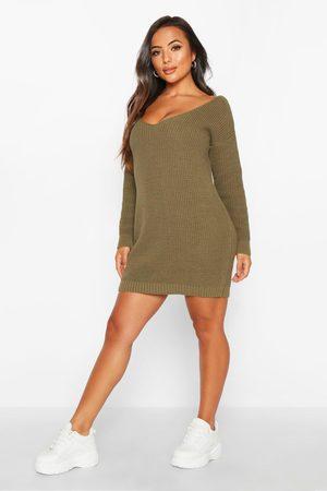 Boohoo Womens Petite V-Neck Sweater Mini Dress - - S