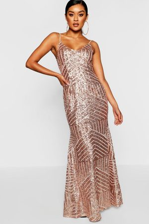 Boohoo Womens Sequin & Mesh Strappy Maxi Dress - - 4