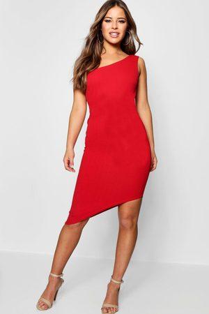 Boohoo Womens Petite One Shoulder Asymmetric Bodycon Dress - - 2