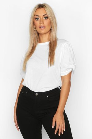 Boohoo Womens Plus Ruched Knot Puff Sleeve T-Shirt - - 12