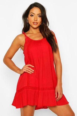 Boohoo Women Beach Dresses - Womens Embroidered Cheesecloth Beach Dress - S