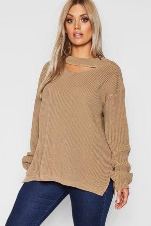 Boohoo Womens Plus Choker Side Split Sweater - - 12