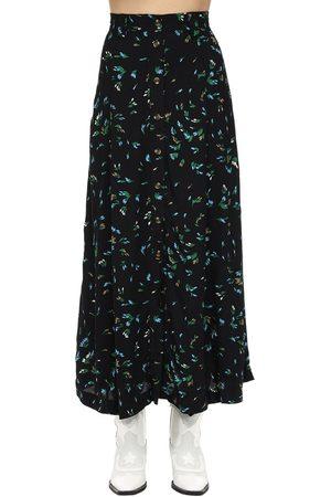 Ganni Printed Viscose Crepe Midi Skirt
