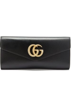 Gucci Broadway Gg Plaque Leather Clutch Bag - Womens