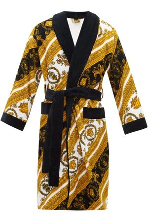 VERSACE Men Bathrobes - Baroque-print Cotton Terrycloth Robe - Mens