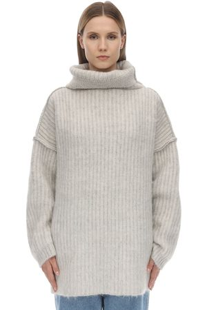 Maison Margiela Wide Collar Mohair Blend Knit Sweater