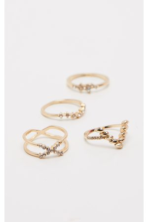 PRETTYLITTLETHING Diamante Four Set Stacking Rings