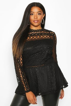 Boohoo Womens Plus Lace High Neck Peplum Top - - 12