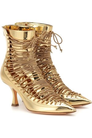 Y / PROJECT Lace-up metallic leather ankle boots
