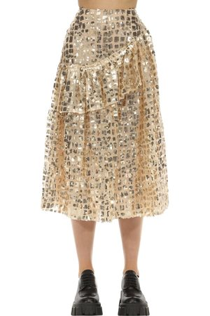 Simone Rocha Flared Sequin Grid Ruffle Midi Skirt