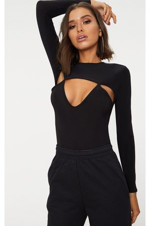 PRETTYLITTLETHING Slinky Cut Out Long Sleeve Thong Bodysuit