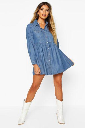 Boohoo Womens Long Sleeve Denim Shirt Dress - - 2