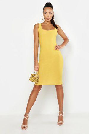 Boohoo Women Bodycon Dresses - Womens Basic Square Neck Bodycon Midi Dress - - 4