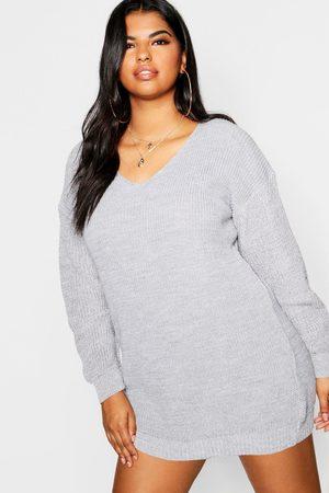 Boohoo Womens Plus Bella V Neck Sweater Mini Dress - - 12