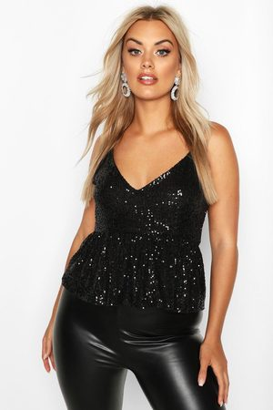 Boohoo Womens Plus Sequin Peplum Cami - - 12