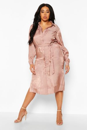 Boohoo Womens Plus Metallic Shirt Midi Dress - - 12