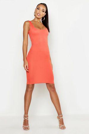 Boohoo Womens Basic Square Neck Bodycon Midi Dress - - 4