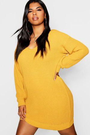Boohoo Womens Plus Bella V Neck Sweater Mini Dress - - 20