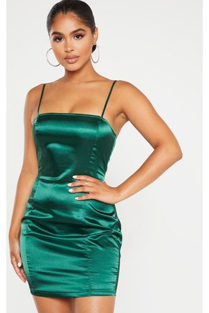 PRETTYLITTLETHING Women Bodycon Dresses - Petite Emerald Satin Strappy Straight Neck Bodycon Dress