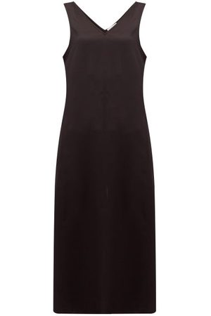 Raey High V Neck Silk Midi Dress - Womens