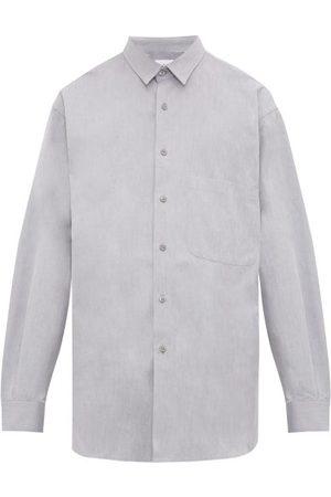 Raey Men Shirts - Batwing-sleeve Cotton Shirt - Mens - Grey