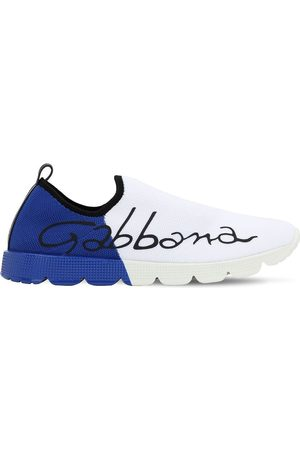 Dolce & Gabbana Logo Printed Two Tone Knit Sneakers