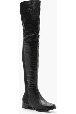 Boohoo Womens Croc Knee High Boots - - 7