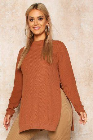 Boohoo Womens Plus Side Split Moss Stitch Tunic sweater - - 12