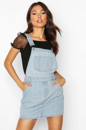 Boohoo Womens Denim Overall Pinafore Dress - - 2