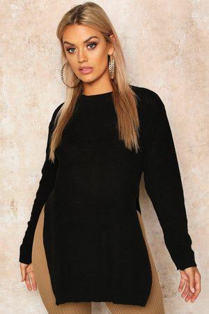 Boohoo Womens Plus Side Split Moss Stitch Tunic sweater - - 12